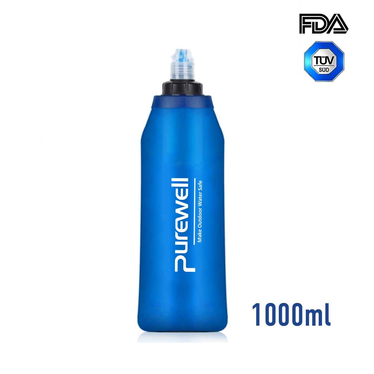 Purewell Outdoor Collapsible Soft Flask 1000ml with Filter for Running, Travel, Backpacking