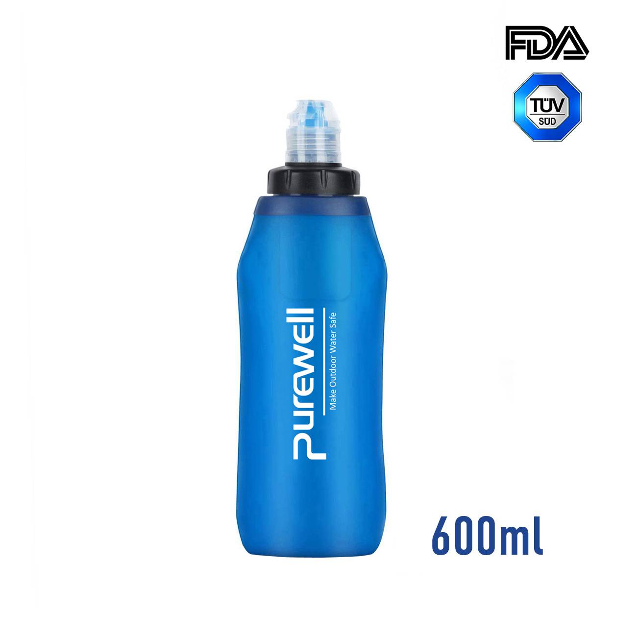 Purewell Outdoor Collapsible Soft Flask 600ml with Filter for Running, Travel, Backpacking K8630