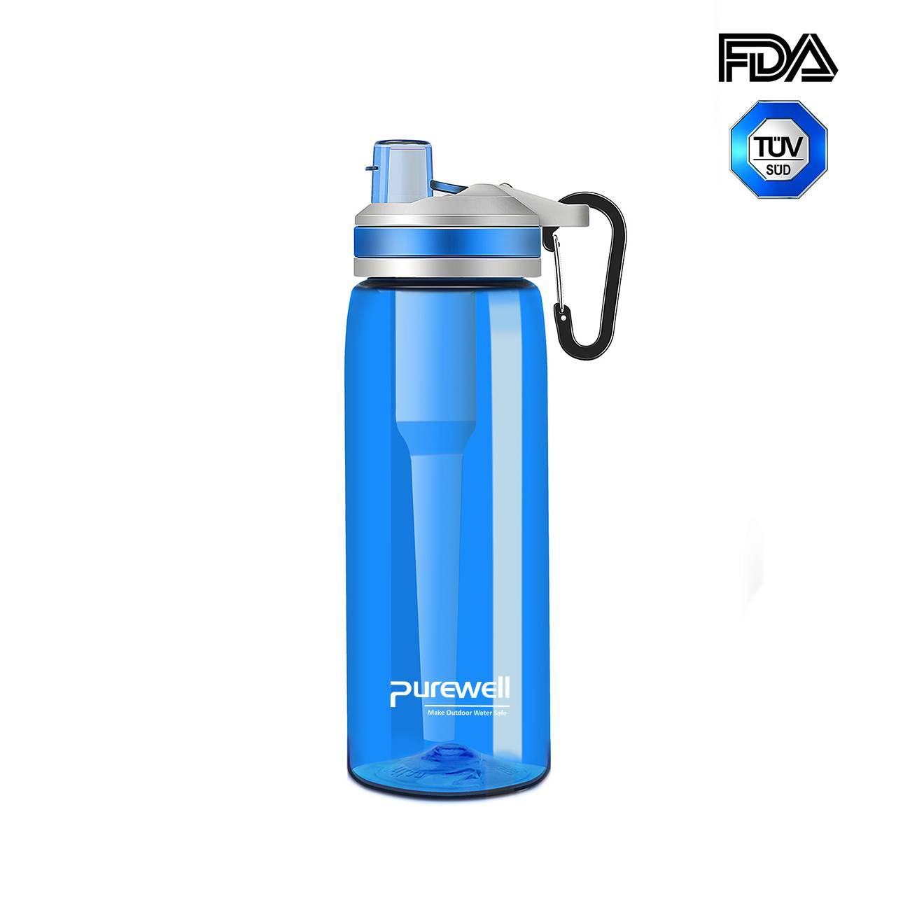 Water Filter Bottle with Activated Carbon Remove Chlorine, Bad Odor K8628